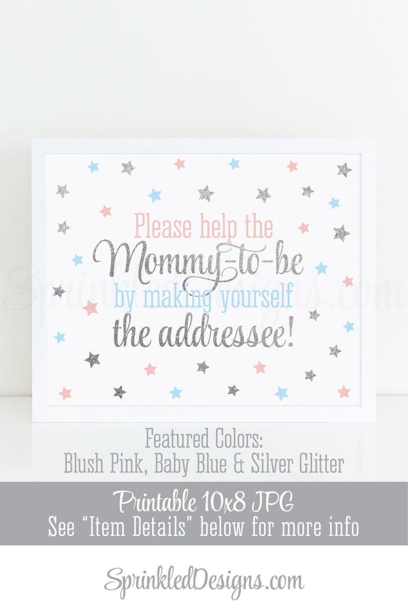 Twinkle Little Star Baby Shower Envelope Addressee Sign image 0