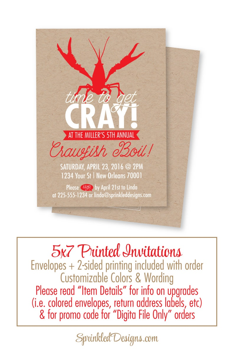 Crawfish Boil Invitation Time To Get Cray Cray New Orleans Etsy