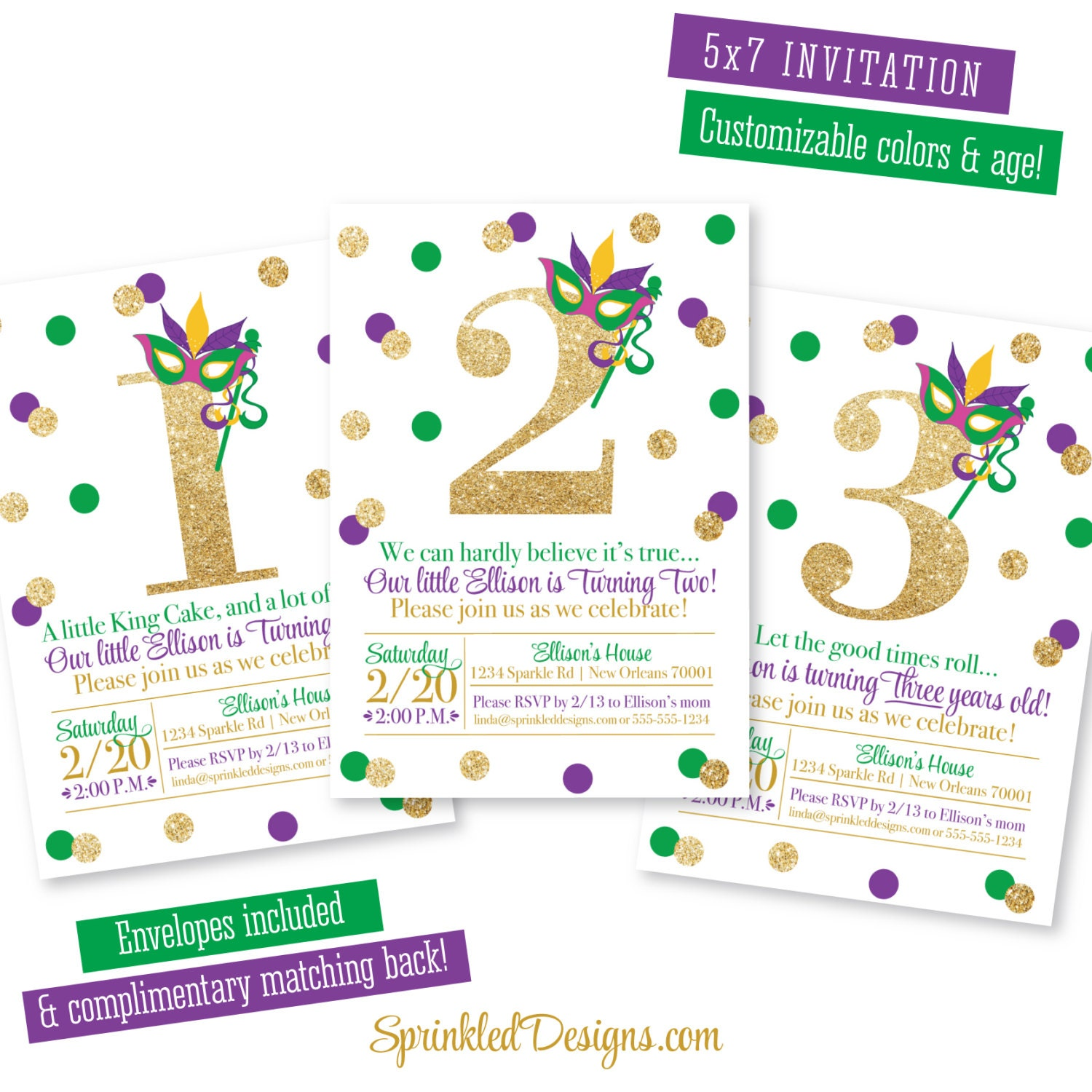 graphic relating to Free Printable Mardi Gras Invitations named Mardi Gras Birthday Invitation - Red Eco-friendly Gold Glitter 1st 2nd 3rd 4th 5th 6th 7th 8th 9th Birthday Invitations, Fresh new Orleans Birthday Occasion