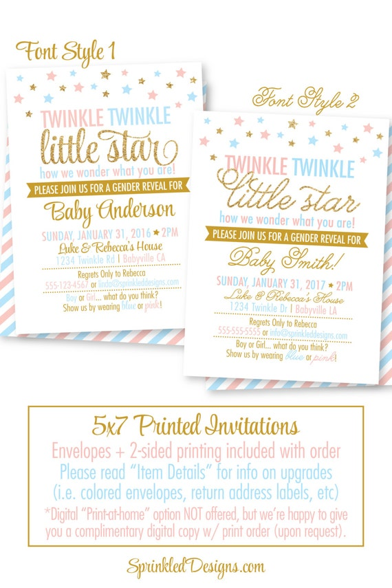 twinkle twinkle little star gender reveal invitation printed etsy