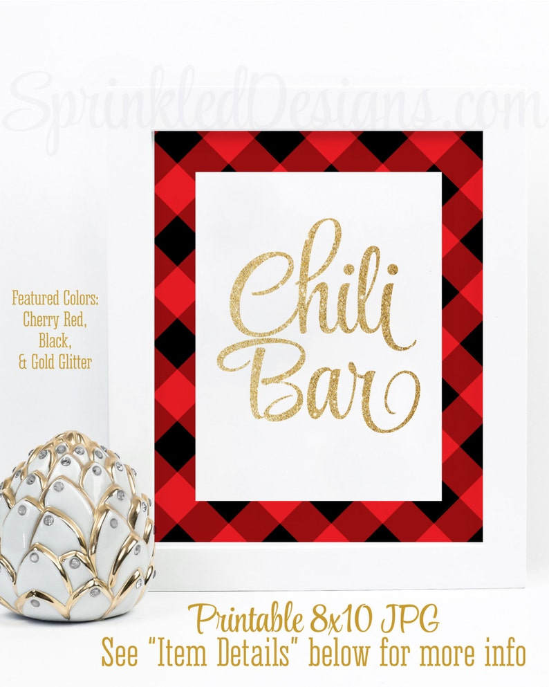 Chili Bar Sign Gold Red Black Buffalo Plaid Flannel