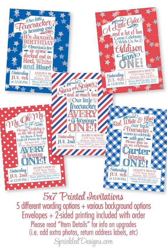 4th Of July Birthday Invitations Little Firecracker First