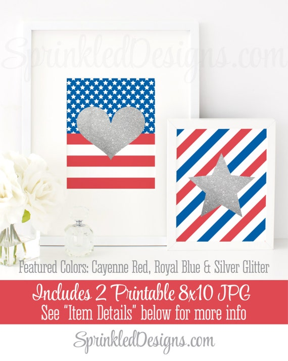 photograph regarding Closed Memorial Day Sign Printable called Silver Glitter Centre Star Prints - American Flag Printable