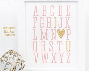 Alphabet ABC I Love You - Printable Baby Girl Nursery Room Art Baby Shower Birthday Wedding Decoration Sign - Blush Pink Gold Glitter Heart
