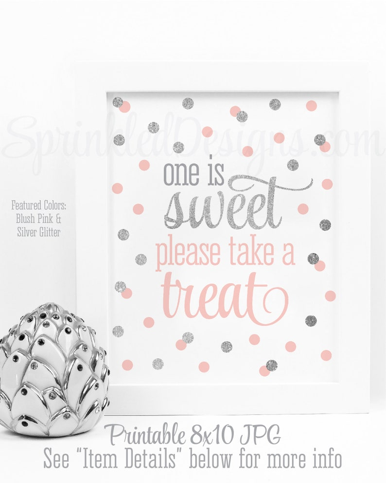 One is Sweet Take A Treat  Printable First Birthday image 0