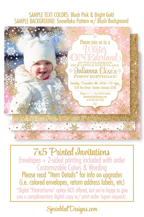 Winter ONEderland Invitation Girl Photo Card - Blush Pink Gold Glitter Blue Snowflakes Snow - First Birthday 1st Bday - Printed Party Invite