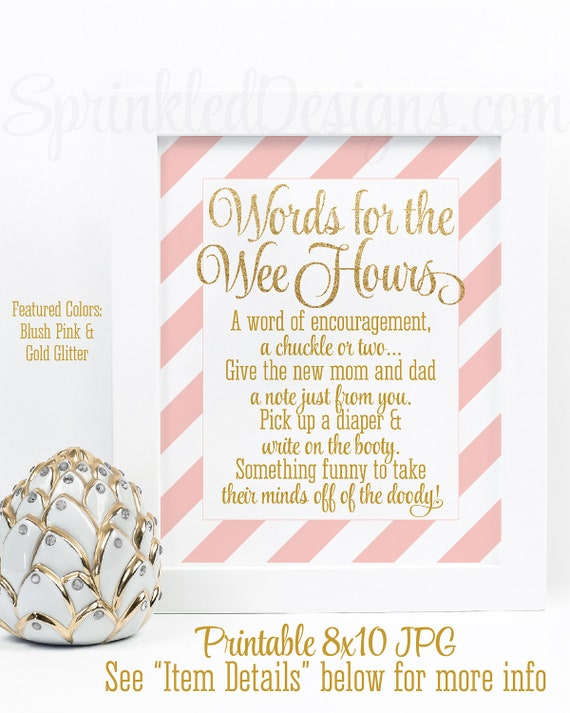 picture relating to Words for the Wee Hours Free Printable named Youngster Shower Video games, Terms For The Wee Hrs, Words and phrases of Knowledge