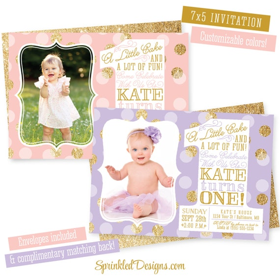 First birthday girl invitation photo card blush pink purple etsy image 0 filmwisefo