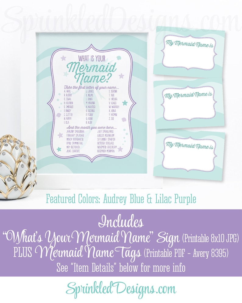Mermaid Name Party Sign Name Tags Mermaid Name Party Game image 0
