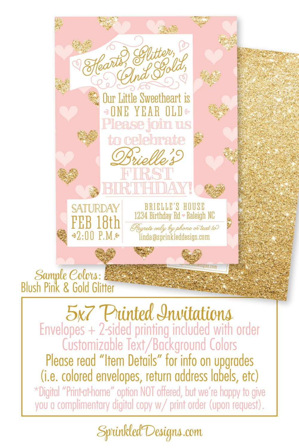 Our Little Sweetheart 1st Birthday Invitation One Year Old