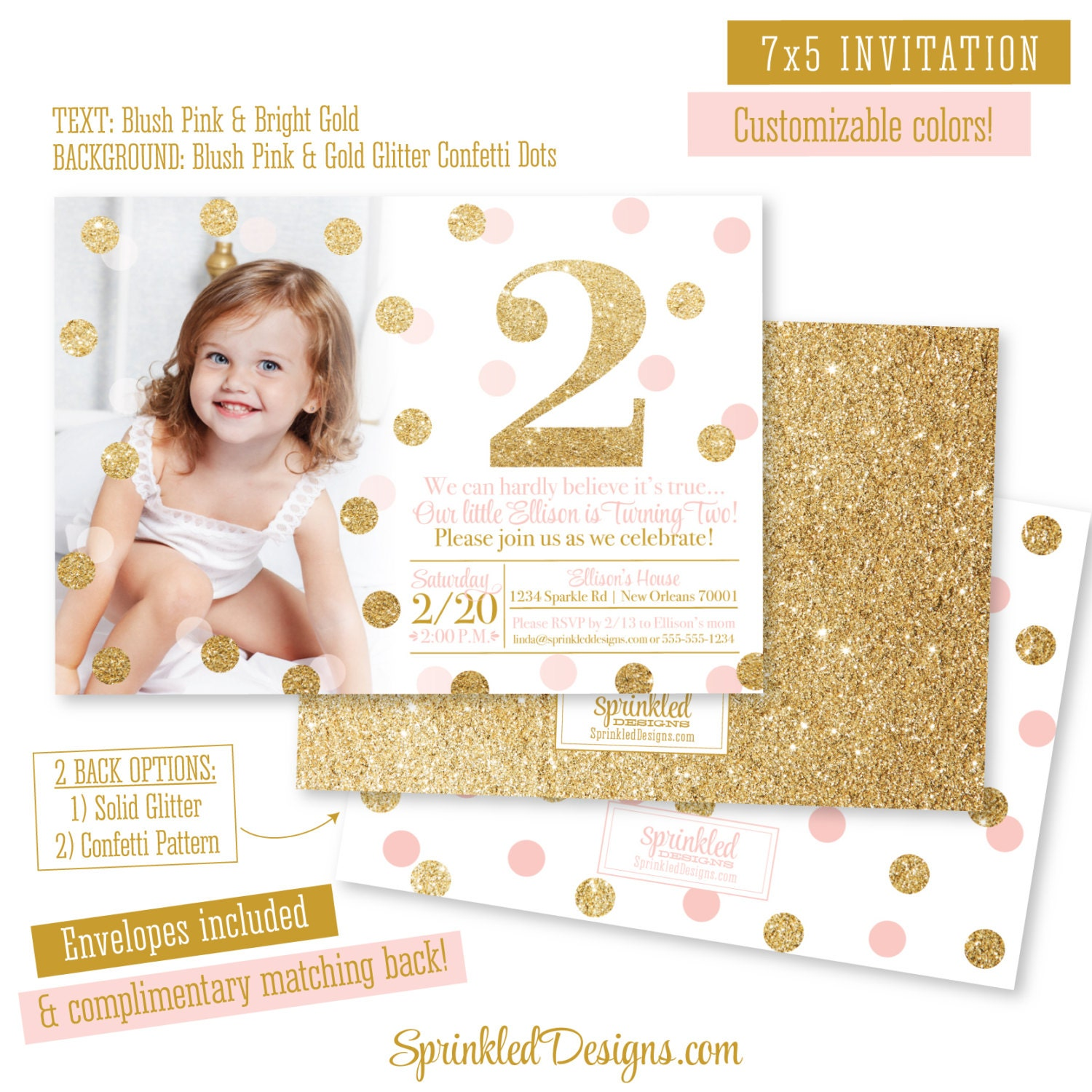 Pink And Gold 2nd Birthday Girl Invitation Photo Card Blush