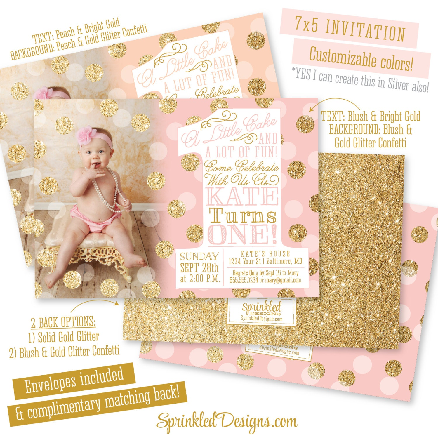Pink gold first birthday invitation with photo big one 1st etsy zoom filmwisefo