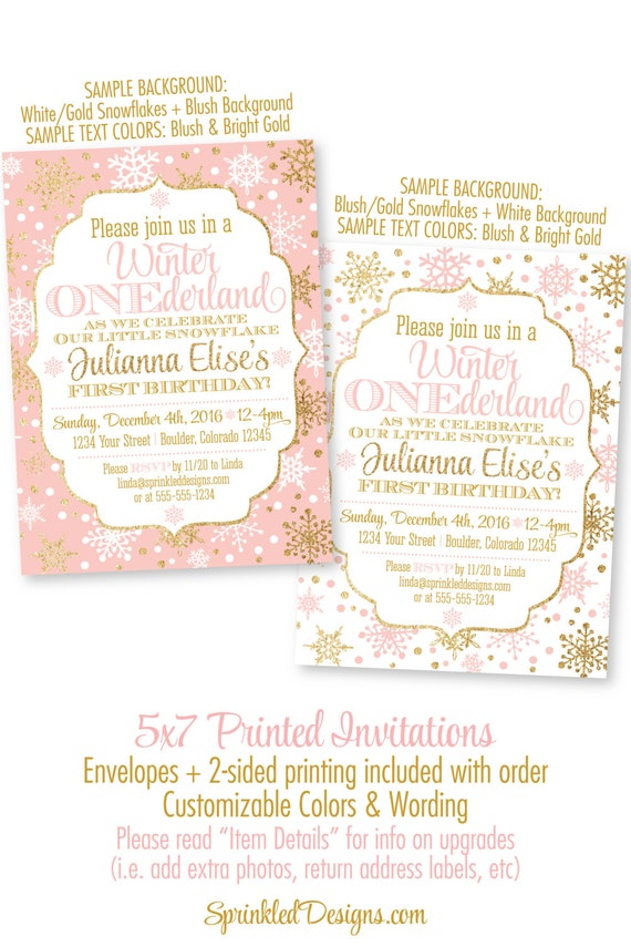 Winter ONEderland Invitation Girl 1st Birthday Invitations