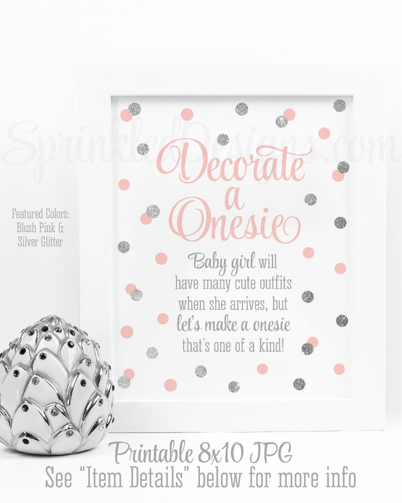 Decorate A Onesie Sign Onesie Decorating Station Sign Girl image 0