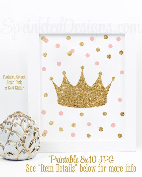 Princess Crown Tiara Art Little Girl Room Decor Nursery Wall Birthday Decorations Blush Pink Gold Glitter