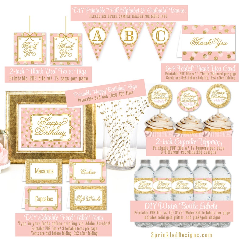 Pink And Gold Birthday Party Decorations Blush