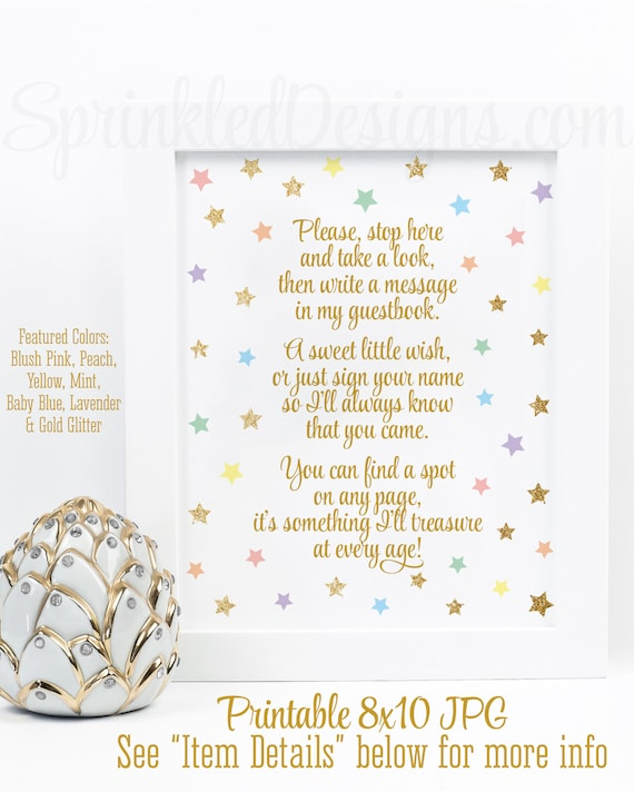 Printable Rainbow Baby Shower Decorations Unicorn Baby Shower Guest
