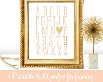 Alphabet ABC I Love You Heart - Printable Peach Gold Glitter Decoration Wedding Sign, Nursery Wall Art Print, Valentine's Day Home Decor