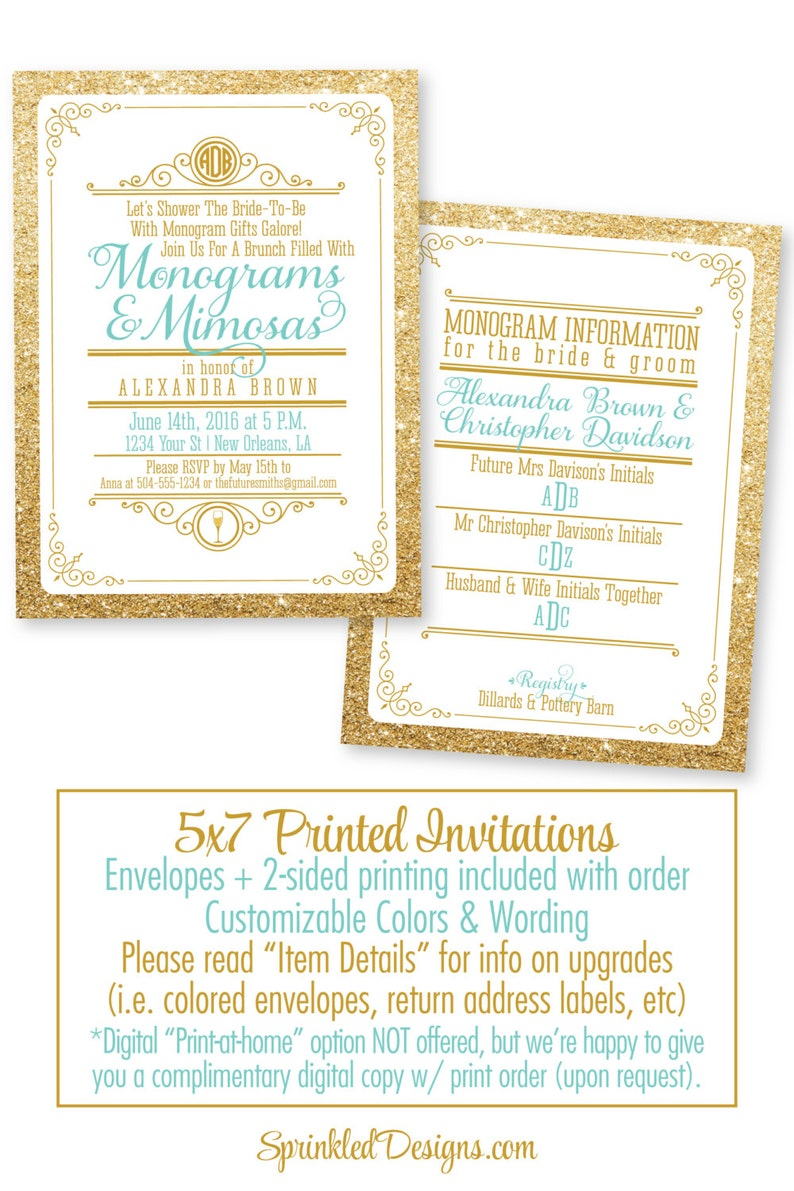 569c61c8b702 Monograms And Mimosas Bridal Shower Invitation Monograms and