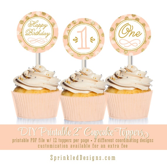 Gold Pink 2 x 2 Pdf DIGITAL DOWNLOAD Mint Cupcake Toppers PRINTABLE Happy Birthday