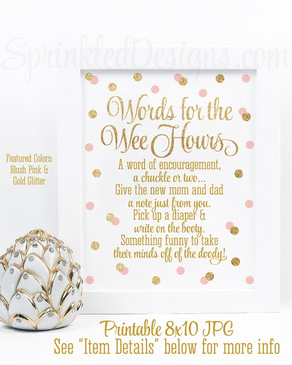 graphic relating to Words for the Wee Hours Free Printable named Kid Shower Online games, Words and phrases For The Wee Several hours, Text of Knowledge