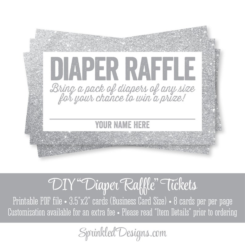 image relating to Printable Diaper Raffle Tickets titled Printable Diaper Raffle Tickets - Silver Glitter Little one Shower Video game Tips - Provide A Pack of Diapers - Carry A Pack of Diapers
