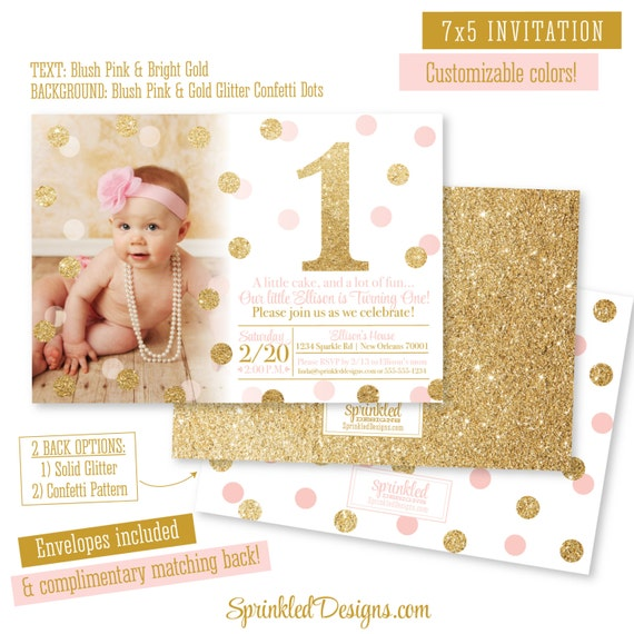 Pink And Gold First Birthday Girl Invitation Photo Card