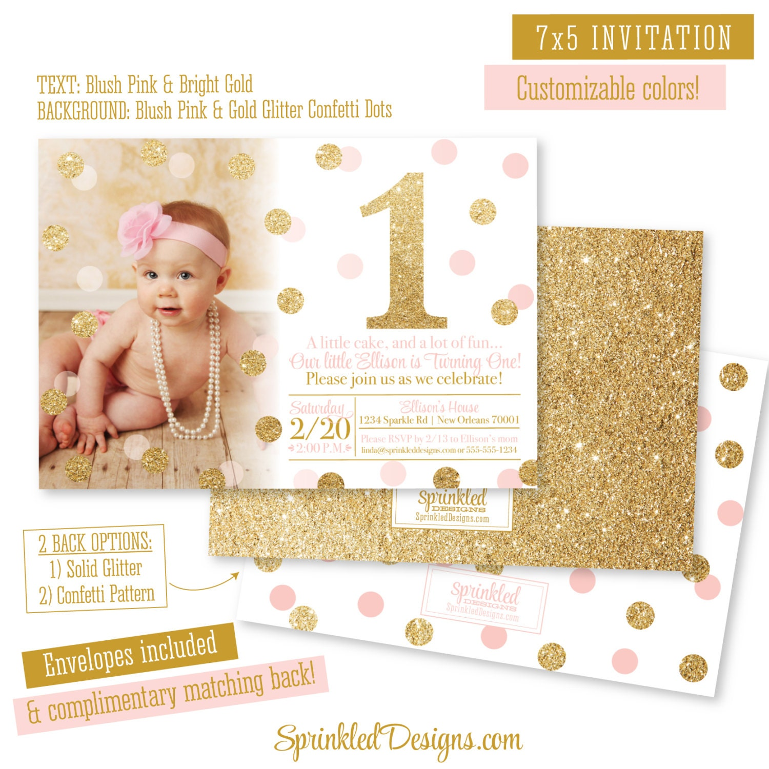 Pink And Gold First Birthday Girl Invitation Photo Card A