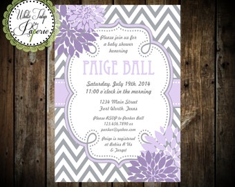 Baby shower invitation black and white stripe girl baby etsy purple and gray baby shower invitation chevron baby shower invitation girl baby shower invitation purple and gray digital invitation filmwisefo