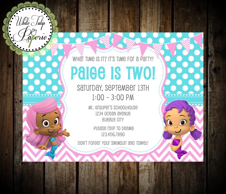 Bubble Guppies Invitation Bubble Guppies Party Bubble   Etsy