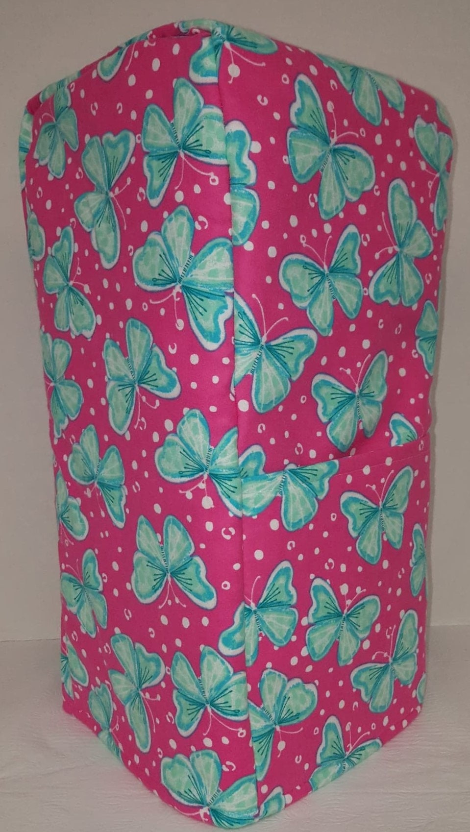Teal Pink Butterflies Blender Cover w/Pockets