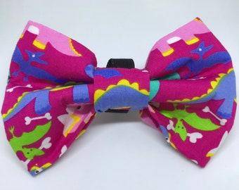 c57944563b6f Dino Dog Bow Tie / Pink Dinosaurs Dog Bow-Tie / Pink Dog Bowtie