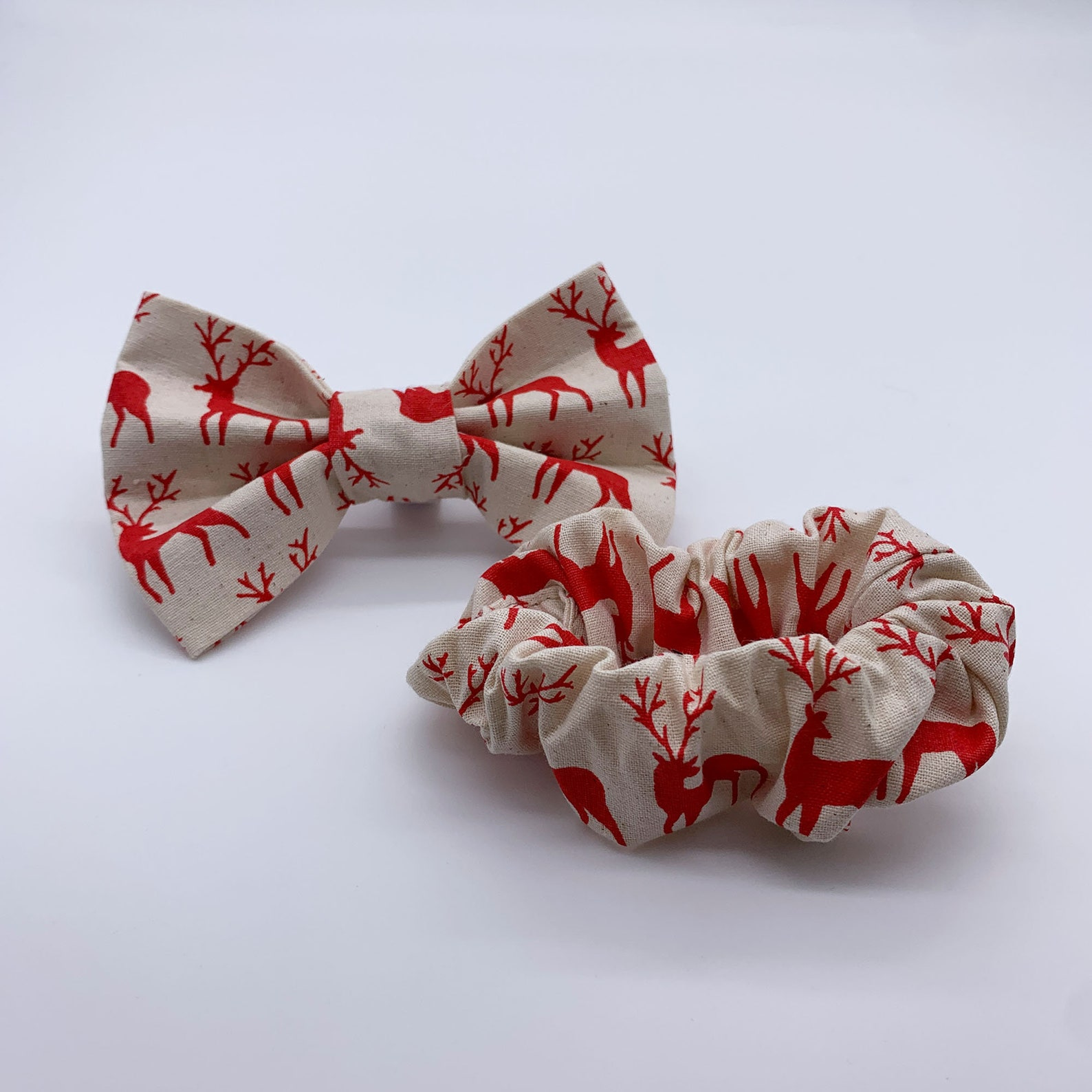 Matching scrunchie and dog bow tie for Christmas