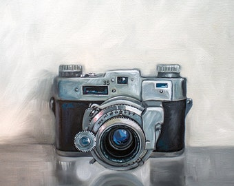 "Vintage 35mm Film Camera - Original Still Life Oil Painting on 1/8"" Hardboard Panel by Lauren Pretorius"