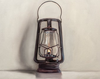 "Vintage Oil Lantern - Original Still Life Oil Painting on 1/8"" Hardboard Panel by Lauren Pretorius"