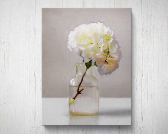 Bottle of White Hydrangeas - Flower Oil Painting Giclee Gallery Mounted Canvas Wall Art Print