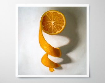 Unwinding Orange - Fine Art Fruit Kitchen Oil Painting Archival Giclee Print Decor by Artist Lauren Pretorius