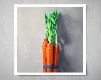Carrot Bunch - Fine Art Oil Painting Archival Giclee Print Decor by Artist Lauren Pretorius
