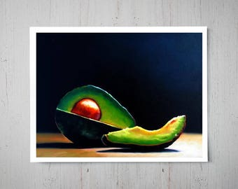 Avocado Slice - Fine Art Oil Painting Archival Giclee Print Decor by Artist Lauren Pretorius