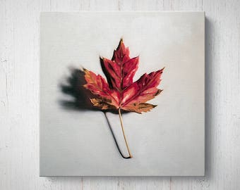 Autumn Maple Leaf - Fall Oil Painting Giclee Gallery Mounted Canvas Wall Art Print