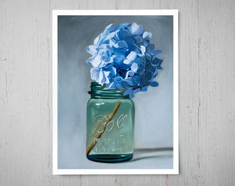 Jar of Blue Hydrangeas - Fine Art Oil Painting Archival Giclee Print Decor by Artist Lauren Pretorius