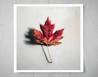 Autumn Maple Leaf - Fall Art Oil Painting Archival Giclee Print Decor by Artist Lauren Pretorius