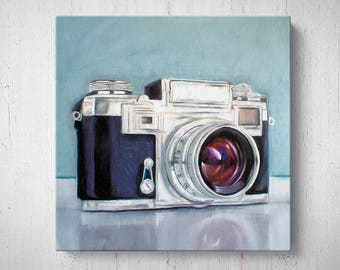 Retro Film Camera - Oil Painting Giclee Gallery Mounted Canvas Wall Art Print