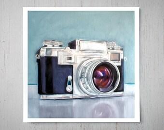 Retro Film Camera - Fine Art Oil Painting Archival Giclee Print Decor by Artist Lauren Pretorius
