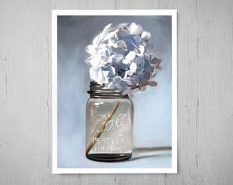 Jar of Soft Blue Hydrangeas - Fine Art Oil Painting Archival Giclee Print Decor by Artist Lauren Pretorius