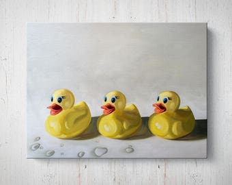 Rubber Ducky Trio - Oil Painting Giclee Gallery Mounted Canvas Wall Art Print