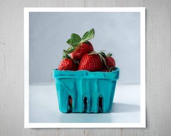 Carton of Strawberries - Fine Art Oil Painting Archival Giclee Print Decor by Artist Lauren Pretorius