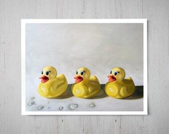 Rubber Ducky Trio - Fine Art Oil Painting Archival Giclee Print Decor by Artist Lauren Pretorius