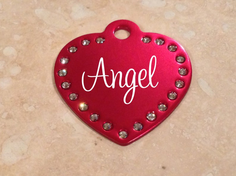 36fa15c0c21012 Laser Engraved Swarovski Element Heart Pet ID Tag Bling