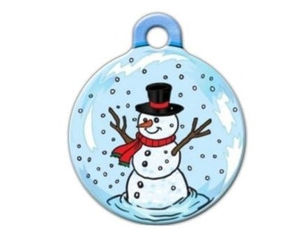 Snow Man Christmas Holiday Engraved Pet ID Tag - Personalized Engraved Dog Tag - Cat Tag